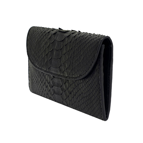 Lucia Mini Purse Python Black Purses | La Portegna UK | Handmade Leather Goods | Vegetable Tanned Leather
