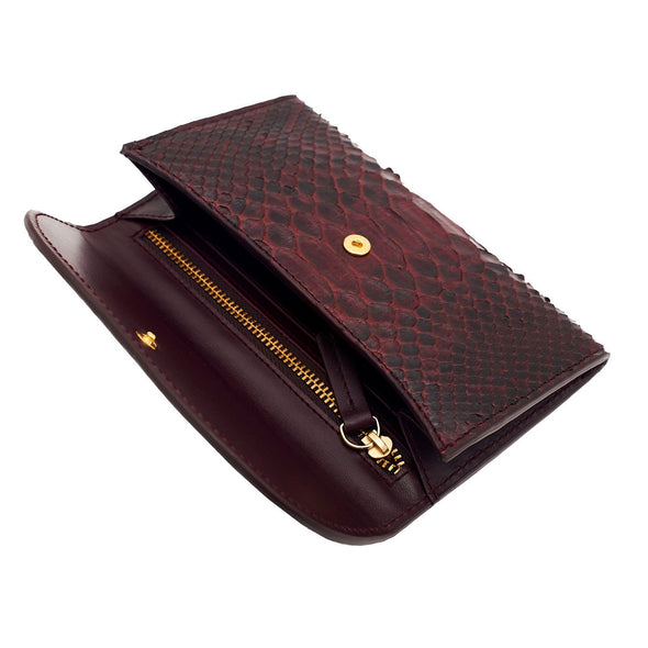 Mini Purses | Lucia Python Burgundy - Open