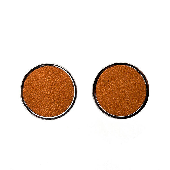 Douglas Mustard Cufflinks | La Portegna UK | Handmade Leather Goods | Vegetable Tanned Leather