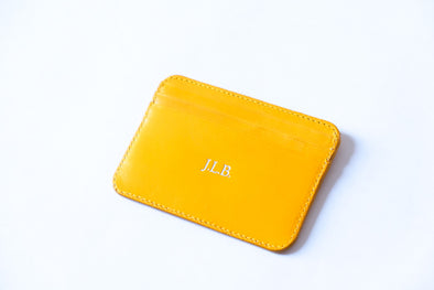 Humphrey Double Sol & Yellow | Wallets UK | La Portegna UK | Handmade Leather Goods | Vegetable Tanned Leather