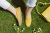 Daniela Mustard Linen | Espadrilles UK | La Portegna UK | Handmade Leather Goods | Vegetable Tanned Leather