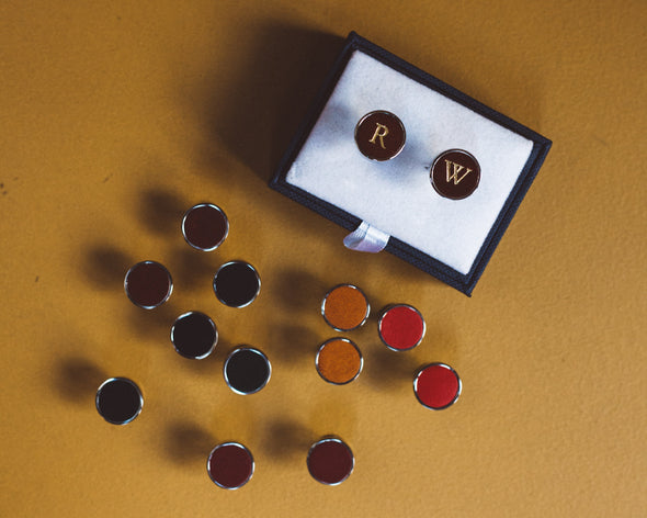 Douglas Burgundy | Cufflinks UK | La Portegna UK | Handmade Leather Goods | Vegetable Tanned Leather