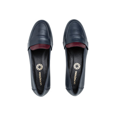 Isabel Navy and Burgundy | Moccasins UK | La Portegna UK | Handmade Leather Goods | Vegetable Tanned Leather