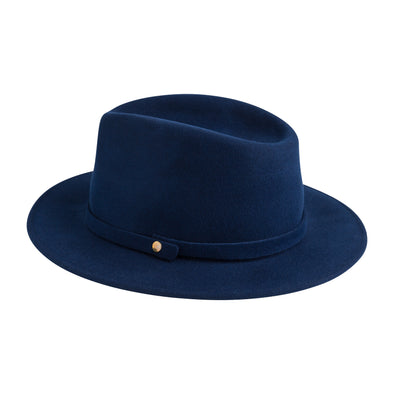 Mendoza Hat Blue | La Portegna UK | Handmade Leather Goods | Vegetable Tanned Leather