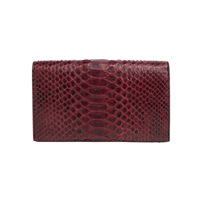 Lucia Python Burgundy Chain | wallet UK | La Portegna UK | Handmade Leather Goods | Vegetable Tanned Leather
