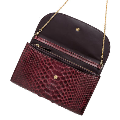 Lucia Python Burgundy Chain wallet | La Portegna UK | Handmade Leather Goods | Vegetable Tanned Leather