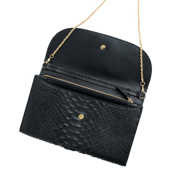 Lucia Python Black Chain | Wallets UK | La Portegna UK | Handmade Leather Goods | Vegetable Tanned Leather