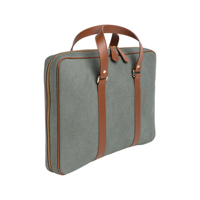 Carter Green Canvas Briefcases | La Portegna UK | Handmade Leather Goods | Vegetable Tanned Leather