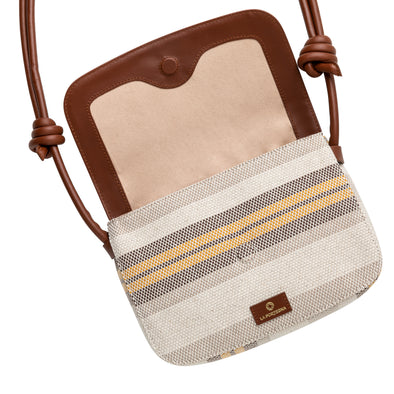 Lucía Yellow Stripes | Shoulder Bags UK | La Portegna UK | Handmade Leather Goods | Vegetable Tanned Leather