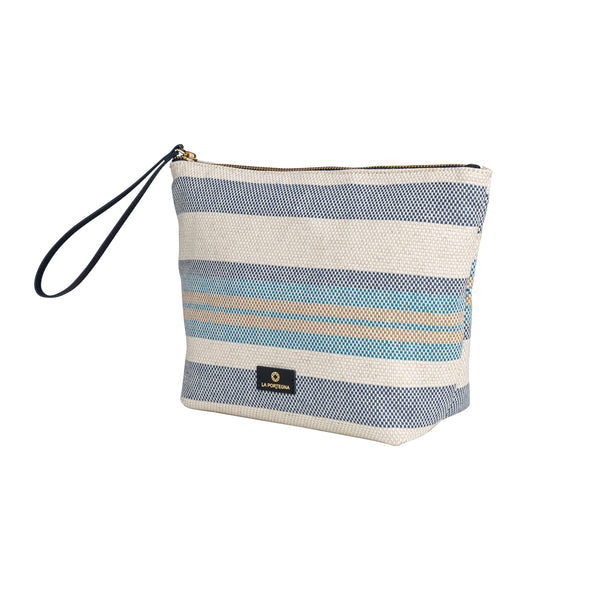 Beach Pouch Blue | UK | La Portegna UK | Handmade Leather Goods | Vegetable Tanned Leather