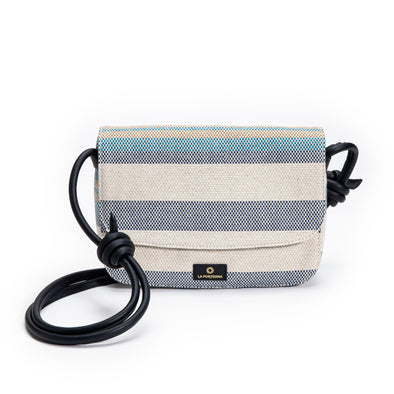 Lucía Blue Stripes | Shoulder Bags UK | La Portegna UK | Handmade Leather Goods | Vegetable Tanned Leather