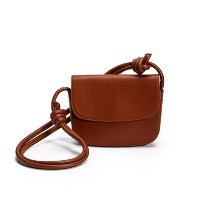 Lucia Mini Tabaco | Shoulder Bags UK | La Portegna UK | Handmade Leather Goods | Vegetable Tanned Leather