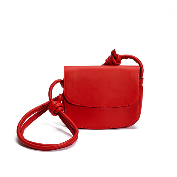 Lucia Mini Red | Shoulder Bags UK | La Portegna UK | Handmade Leather Goods | Vegetable Tanned Leather