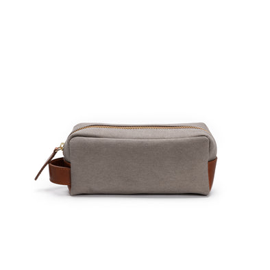 Mini Dopp Kit Cement | Washcases UK | La Portegna UK | Handmade Leather Goods | Vegetable Tanned Leather
