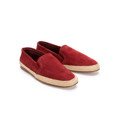 Dani Suede Leather Burgundy | Espadrilles UK | La Portegna UK | Handmade Leather Goods | Vegetable Tanned Leather