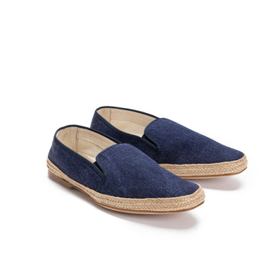 Dani Linen Navy | Espadrilles UK | La Portegna UK | Handmade Leather Goods | Vegetable Tanned Leather