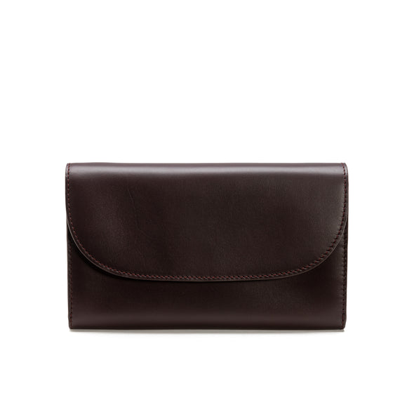 Lucia Burgundy & Petrol Chain | Purses UK | La Portegna UK | Handmade Leather Goods | Vegetable Tanned Leather