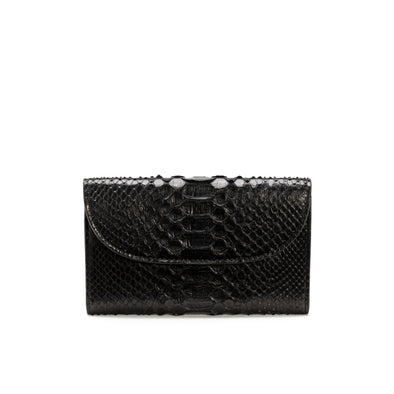 Lucía Purse Python Black | Purses UK | La Portegna UK | Handmade Leather Goods | Vegetable Tanned Leather