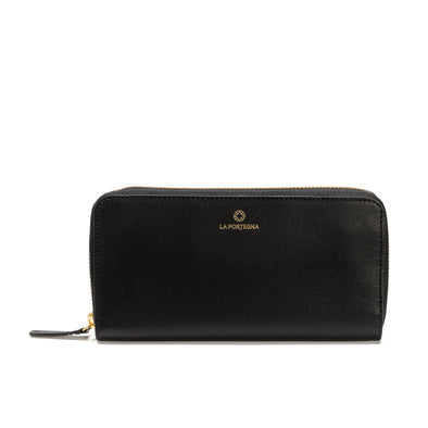 Julia Purse Black | UK | La Portegna UK | Handmade Leather Goods | Vegetable Tanned Leather