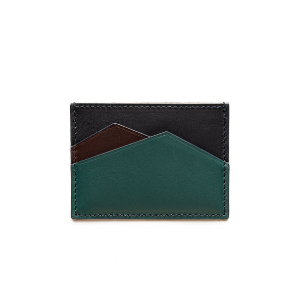 Sierra Horizontal Navy & Petrol Green | Wallets UK | La Portegna UK | Handmade Leather Goods | Vegetable Tanned Leather