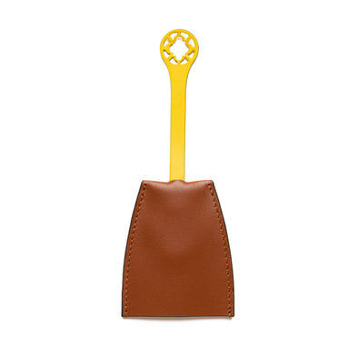 Key chain Tan & Yellow | UK | La Portegna UK | Handmade Leather Goods | Vegetable Tanned Leather