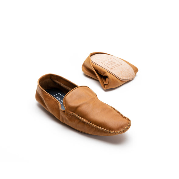 Rodrigo Leather Ocre | Slippers UK | La Portegna UK | Handmade Leather Goods | Vegetable Tanned Leather