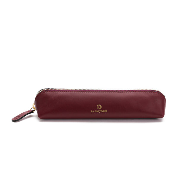 Pencil Case Cherry | Pencil case UK | La Portegna UK | Handmade Leather Goods | Vegetable Tanned Leather