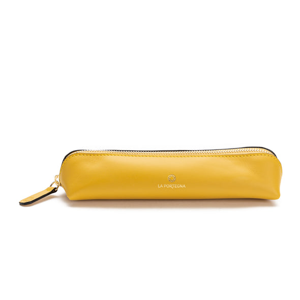 Pencil Case Yellow | Pencil case UK | La Portegna UK | Handmade Leather Goods | Vegetable Tanned Leather