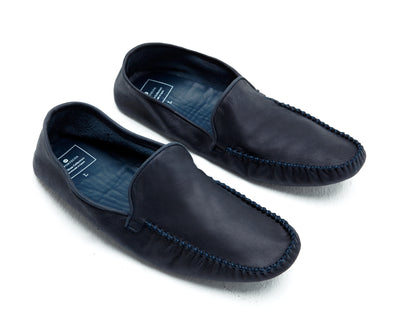 Rodrigo Slippers Soleless Leather Blue | UK | La Portegna UK | Handmade Leather Goods | Vegetable Tanned Leather