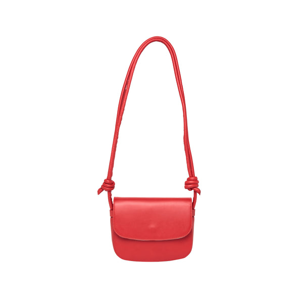 Leather Crossbody Bag | Lucia Mini Red - Hanging