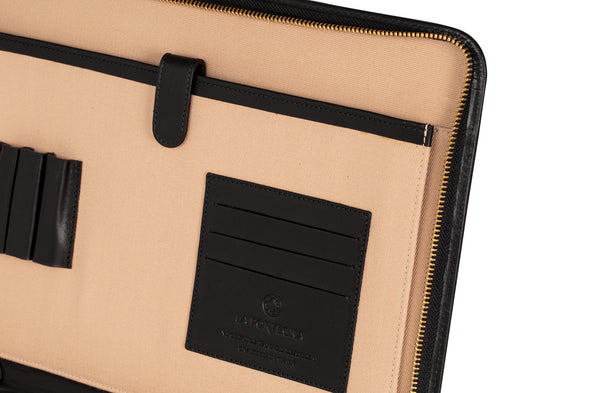 Pablo Portfolio Black Portfolio Cases | La Portegna UK | Handmade Leather Goods | Vegetable Tanned Leather