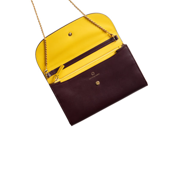Leather Crossbody Bag | Purses | Lucia Burgundy Chain - Open