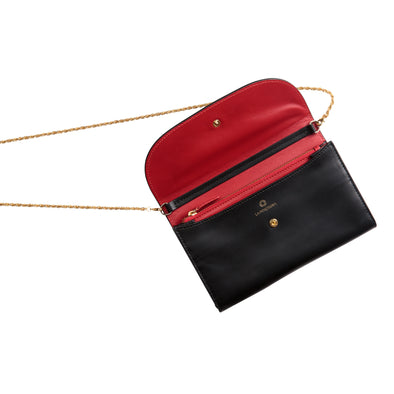 Leather Crossbody Bag | Purses | Lucia Black Chain - Open
