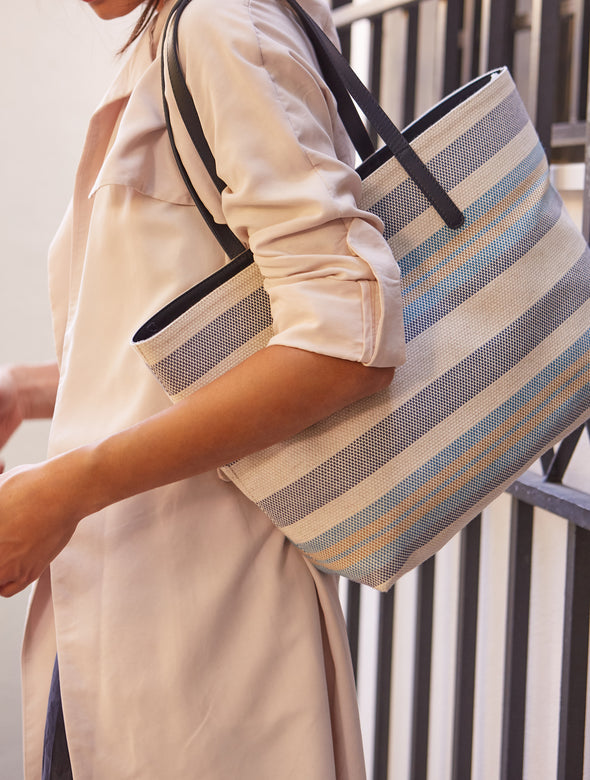 Olivia Tote Blue Stripes | Shoulder Bags UK | La Portegna UK | Handmade Leather Goods | Vegetable Tanned Leather
