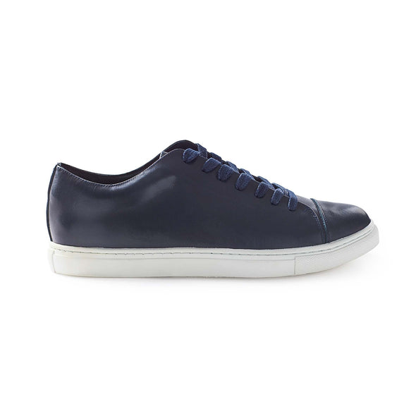 Alex Navy Sneakers | La Portegna UK | Handmade Leather Goods | Vegetable Tanned Leather