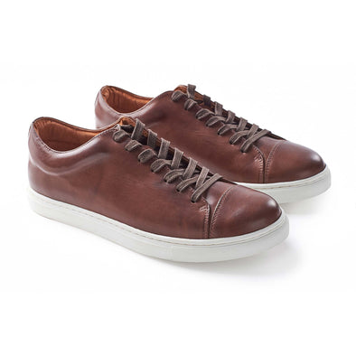 Alex Leather Chocolate | Sneakers UK | La Portegna UK | Handmade Leather Goods | Vegetable Tanned Leather