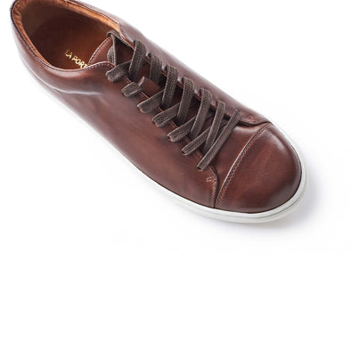Alex Leather Chocolate Sneakers | La Portegna UK | Handmade Leather Goods | Vegetable Tanned Leather