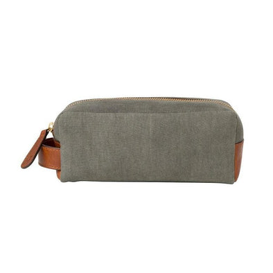Mini Dopp Kit Olive Washcases | La Portegna UK | Handmade Leather Goods | Vegetable Tanned Leather