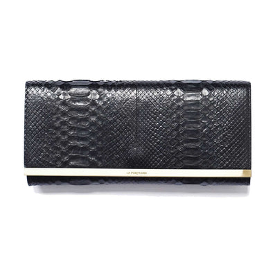 Bárbara clutch python black by La Portegna London