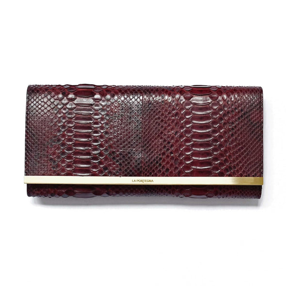 Bárbara Clutch Python Burgundy by La Portegana London