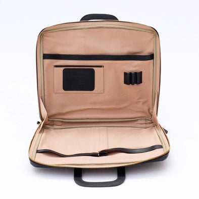 External leather and interior canvas office bag