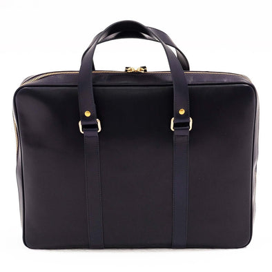 Carter Navy Briefcases | La Portegna UK | Handmade Leather Goods | Vegetable Tanned Leather