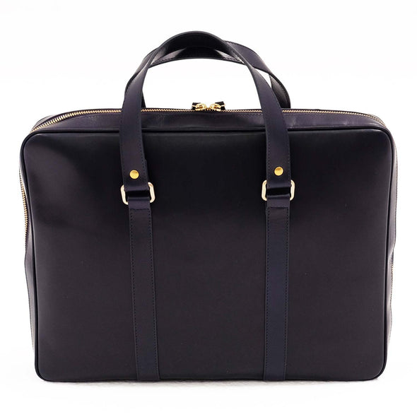 Leather office bag Carter Navy
