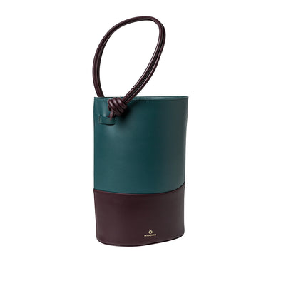 Clara Petrol and Burgundy | La Portegna UK | Handmade Leather Goods | Vegetable Tanned Leather
