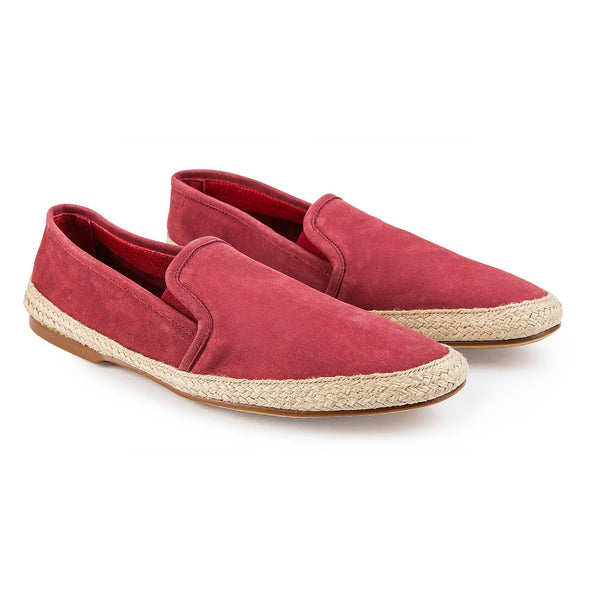 Espadrilles Men - Leather Sole Shoes - Suede Burgundy - Overview