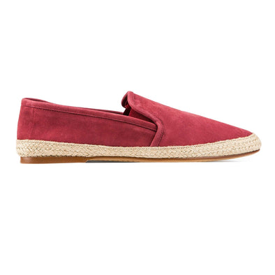 Espadrilles Men - Leather Sole Shoes - Suede Burgundy - Right
