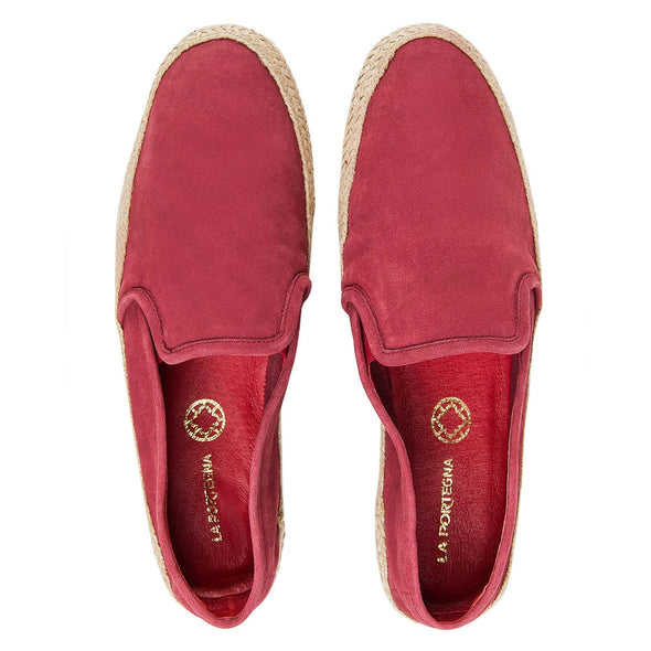 Espadrilles Men - Leather Sole Shoes - Suede Burgundy - Top