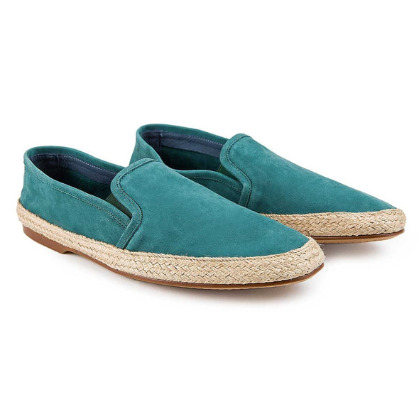Dani Nappa Leather Green | Espadrilles UK | La Portegna UK | Handmade Leather Goods | Vegetable Tanned Leather