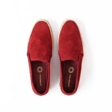 Dani Suede Leather Burgundy Espadrilles | La Portegna UK | Handmade Leather Goods | Vegetable Tanned Leather
