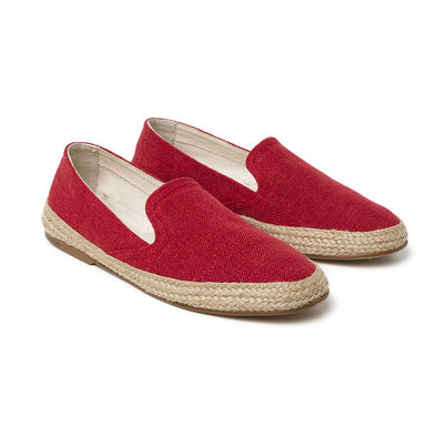 Daniela Red Linen | Espadrilles UK | La Portegna UK | Handmade Leather Goods | Vegetable Tanned Leather